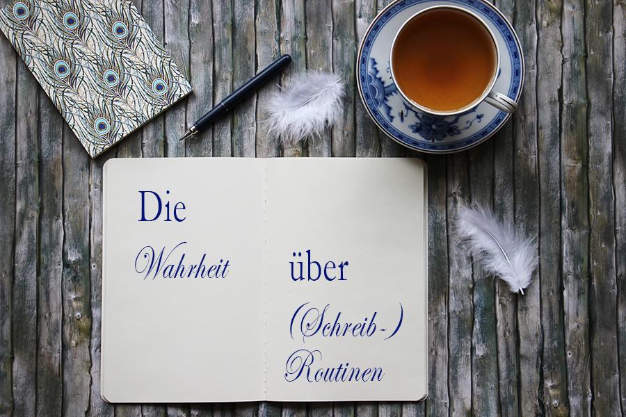 Notizbuch mit Text die Wahrheit über (Schreib-) Routinen